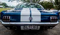 Rear close up view Blue Shelby 1965 Mustang Fastback Featuring SL - Limousine licence plates