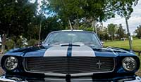 Full front view of East Coast's Blue Shelby 1965 Mustang Fastback muscle car with Wimbledon white lemans stripes
