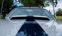 Close up view bonnet air intake scoop Blue Shelby 1965 Mustang Fastback